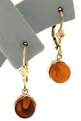 Pretty Amber Yellow Gold Dangle Earrings