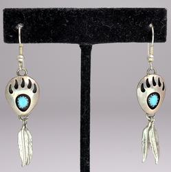 Native American Drop Earrings with Feathers