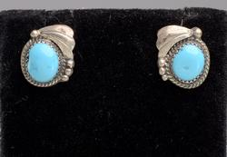 Native American Turquoise Post Earrings in Sterling