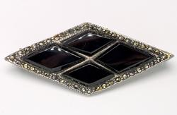 Vintage Onyx & Marcasite Sterling Silver Pin