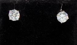 Bright Pair Large CZ Post Earrings in Sterling Silver