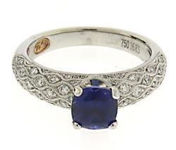 Masterpiece 18kt Cushion Sapphire & Diamond Ring