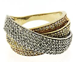 Strong Pave Diamond Crossover Yellow Gold Ring