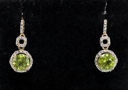 Glittering Peridot & Topaz Dangle Earrings, Vermeil