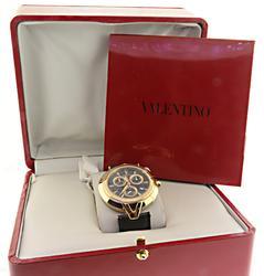 Valentino Chrono Gold Tone Swiss Ostrich Strap Watch