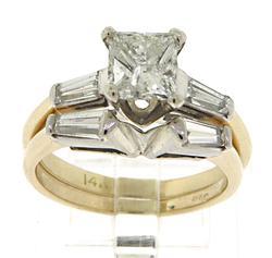 Dazzling 1.20ct Princess Cut w Baguette Diamond Ring