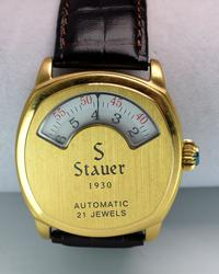 Mens Stauer Automatic Skeleton Back w Gold Toning