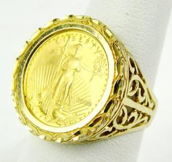 14K Ring with .999 Fine Gold 5 Dollar Coin, 7.5