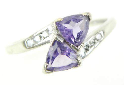 10K Trillion Amethyst's & Diamonds Bypass Ring, 7