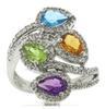 Charming Multi Gemstone & Diamond Bypass Ring