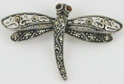 Sterling Silver Garnet & Marcasite Dragonfly Brooch