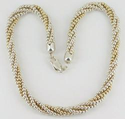Twisted Beaded Sterling Silver Necklace