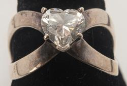 Flashy Criss-Cross CZ Heart Ring in Sterling Silver