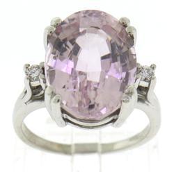 Amazing Oval Cut Kunzite and Diamond Ring