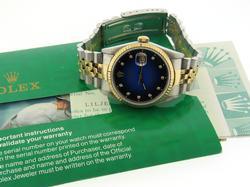 Rolex Datejust 2 Tone Blue & Black Diamond Dial Watch