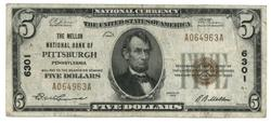 1929 Series $5 National of Pittsburgh, PA (6301)
