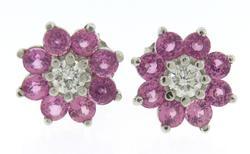 Charming Pink Sapphire Halo & Diamond Earrings
