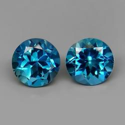 Beautifully matched 4.83ct 8mm top blue Topaz set