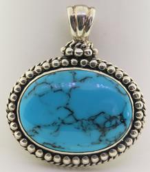 Vintage Sterling Silver Blue Howlite Pendant