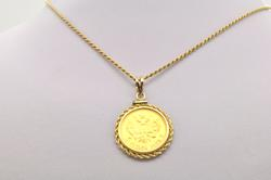 14 KT ROPE CHAIN WITH A RUSSIAN GOLD COIN PENDANT