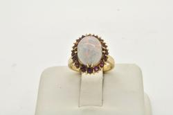 LADIES OPAL AND PINK TOURMALINE ANTIQUE RING