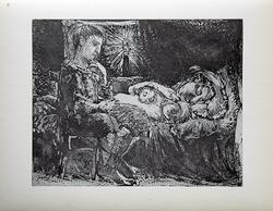 PABLO PICASSO, BOY WATCHING OVER SLEEPING WOMAN
