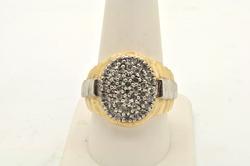 MENS 10 KT TWO TONE DIAMOND RING