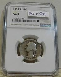 1932-S Washington Quarter NGC AG-03, Key date.