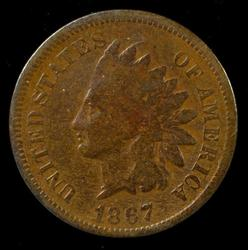 Real nice scarce 1867 Indian Head Cent