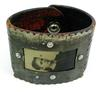 Wide Leather Bracelet with Antique Tin Type