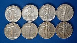 1936, 37, 39, 40, 41, 42, 43 & 1944 WALKING 50C CIRC