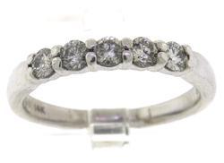 Charming Diamond Shared Prong 5 Stone Diamond Band