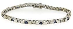 Handsome Diamond and Sapphire Bar White Gold Bracelet