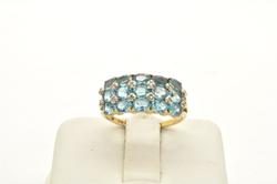 LADIES YELLOW GOLD DIAMOND AND BLUE TOPAZ RING