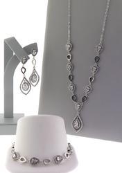 Rhodium Plated Cubic Zirconia Jewelry Set