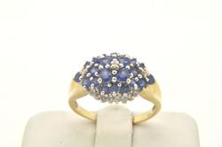 LADIES 14 KT SAPPHIRES AND DIAMOND RING