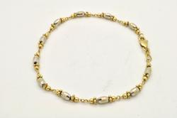 LADIES 14 KT WHITE AND YELLOW GOLD LINK BRACELET