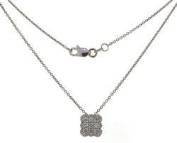 Stylish Cushion Shape Cluster Diamond Necklace