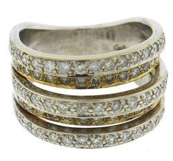 Fantastic Diamond 5 Row Diamond White Gold Ring