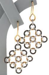 Charming 18kt Talento 2 Tone Fancy Diamond Earrings
