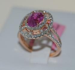 18kt Rose Gold Pink Sapphire & Diamond Cocktail Ring
