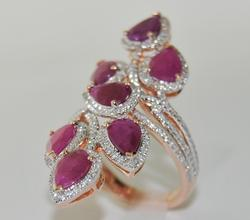 Ruby & Diamond Cocktail Ring in 14kt Rose Gold