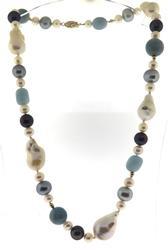 Elegant Pearl & Aquamarine Beaded Necklace