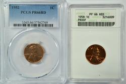 1952 and 1958 Lincoln Cents. PCGS and ANACS PR66RD