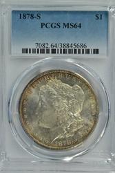 Near Gem BU 1878-S Morgan Silver Dollar. Nice