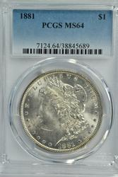Frosty-white near Gem BU 1881-P Morgan Dollar PCGS MS64