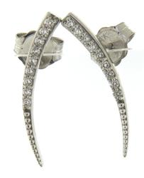 Majestic White Gold Diamond Crescent Earrings Climbers