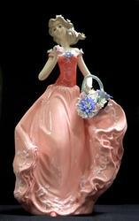 Maiden in Italian Garden 14inc Porcelain Figurine