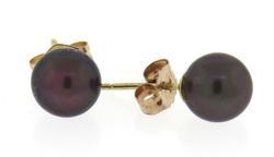 Grey Pearl Yellow Gold Stud Earrings