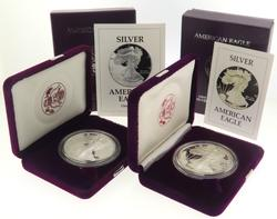 1986 S & 1993 P Proof Silver Eagles With Boxs And Paper
